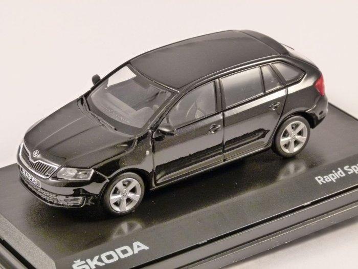 SKODA RAPID SPACEBACK in Black 1/43 scale model ABREX