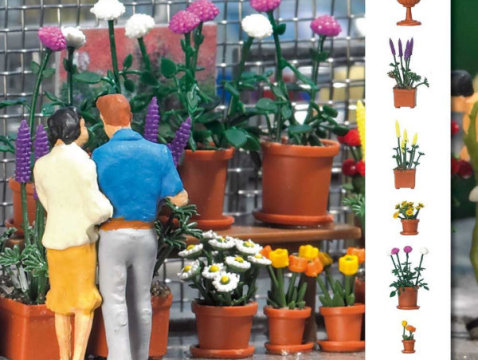FLOWERPOT SET with FLOWERS 1/87 scale plastic model Busch