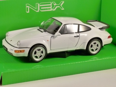 PORSCHE 911 (964) TURBO in White 1/24 scale model by WELLY
