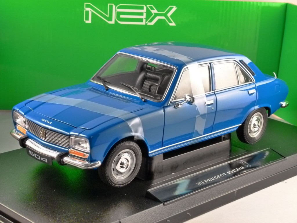 1975 PEUGEOT 504 in Blue 1/18 scale model by WELLY