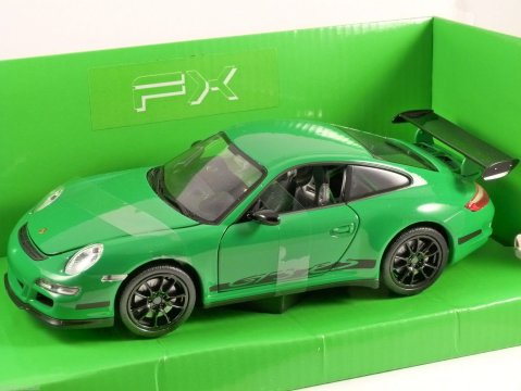 PORSCHE 911 GT3 RS (997) in Green 1/24 scale model by WELLY