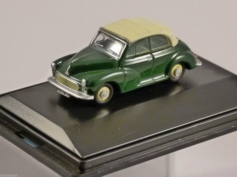 MORRIS MINOR CONVERTIBLE in Almond Green 1/76 scale model OXFORD DIECAST