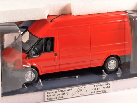 FORD TRANSIT Mk6 LWB High Roof van in Red 1/43 scale dealer model by Minichamps