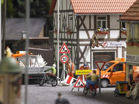 HO ROAD WORKS / CONSTRUCTION SITE Signs 1/87 scale plastic model Busch