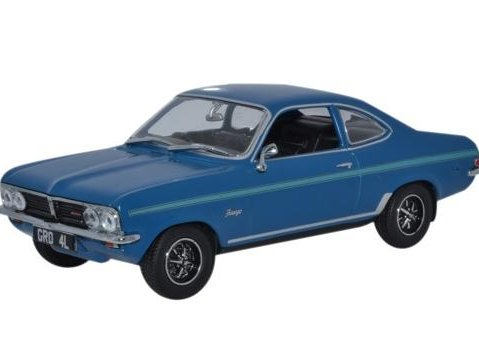 VAUXHALL FIRENZA SPORT SL in Bluebird Blue 1/43 scale model by Oxford Diecast
