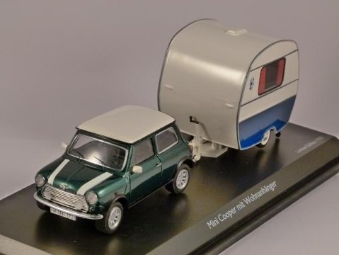 MINI COOPER & KNAUS CARAVAN 1/43 scale model SCHUCO