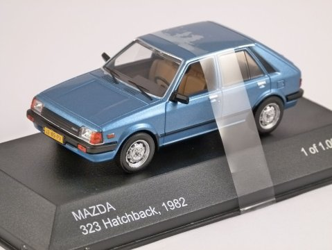 1982 MAZDA 323 Hatchback in Blue 1/43 scale model by Whitebox