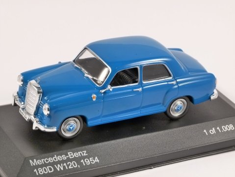 1954 MERCEDES BENZ W120 180D in Blue 1/43 scale model by Whitebox