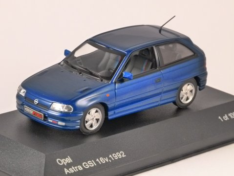1992 OPEL ASTRA GSi in Blue 1/43 scale model by Whitebox