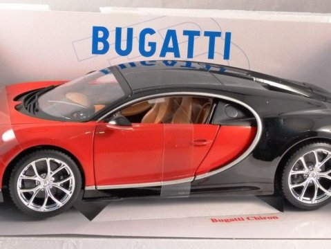 BUGATTI CHIRON in Red / Black 1/18 scale model BURAGO