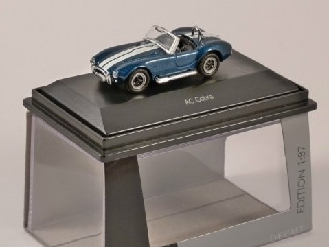 Schuco AC COBRA in Blue with White Stripes 1/87 scale model