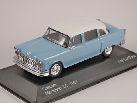 Model - 1964 Checker Marathon 327 in Light Blue Manufacturer - Whitebox Scale - 1:43 (approx 10cm) Limited Edition - One of 1000 pieces worldwide Packaging - Brand new, mint in box Details - Brand new, superbly detailed by Whitebox
