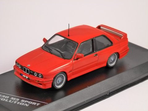 1989 BMW M3 E30 SPORT EVOLUTION in Red 1/43 scale model by Whitebox