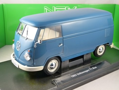 1963 VOLKSWAGEN T1 PANEL VAN in Blue 1/18 scale model by WELLY
