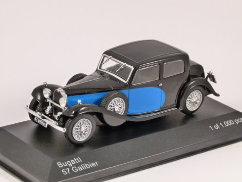 1934 BUGATTI 57 GALIBIER in Blue / Black 1/43 scale model by Whitebox