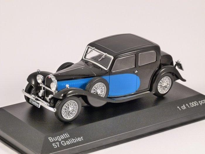 1934 BUGATTI 57 GALIBIER in Blue / Black 1/43 scale model by Whitebox