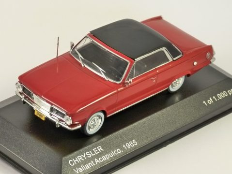1965 CHRYSLER VALIANT ACAPULCO in Red 1/43 scale model by Whitebox
