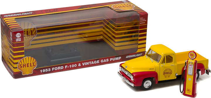 1953 FORD F-100 & Vintage Shell Gas Pump 1/18 scale model by Greenlight