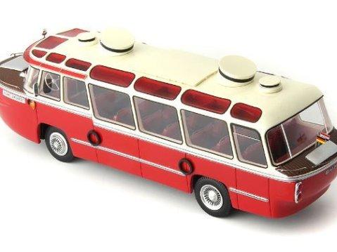 MERCEDES-BENZ OP312 van Rooijen in red-ivory 1/43 scale model by Autocult