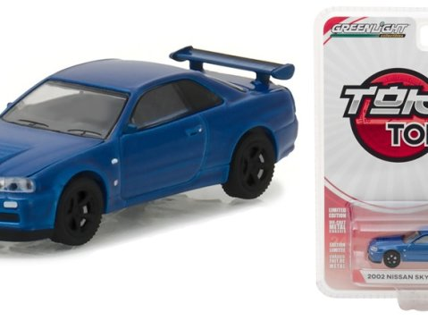 2002 NISSAN SKYLINE GT-R R34 in Blue - 1/64 scale model GREENLIGHT