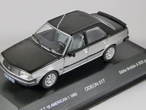 1983 RENAULT 18 AMERICAN 1 in Black / Silver 1/43 scale model by Odeon
