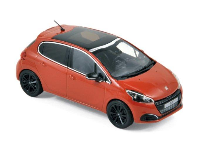 2015 PEUGEOT 208 in Orange 1/43 scale model by Norev