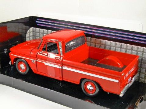 1966 CHEVROLET C10 FLEETSIDE PICKUP in Red - 1/24 scale model by MotorMax