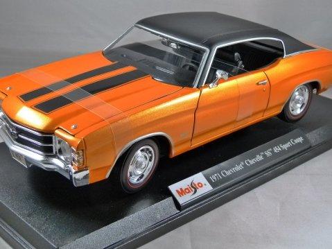 1971 CHEVROLET CHEVELLE SS 454 SPORT COUPE in Orange 1/18 scale model MAISTO