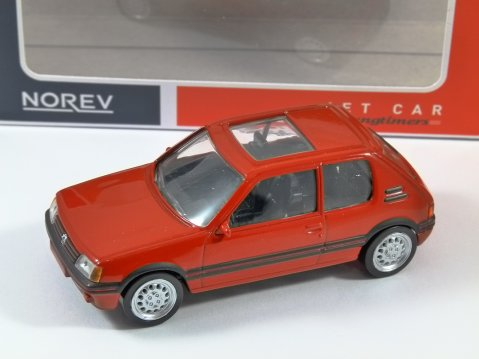 1986 PEUGEOT 205 GTi in Red 1/43 scale model by Norev