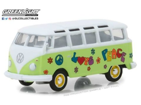 1964 VOLKSWAGEN SAMBA BUS Hippie Peace & Love - 1/64 scale model GREENLIGHT