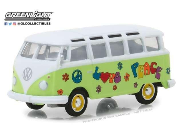 1964 VOLKSWAGEN SAMBA BUS Hippie Peace & Love - 1/64 scale model GREENLIGHT