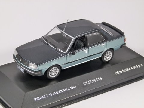 1984 RENAULT 18 AMERICAN 2 in Blue / Silver 1/43 scale model by Odeon