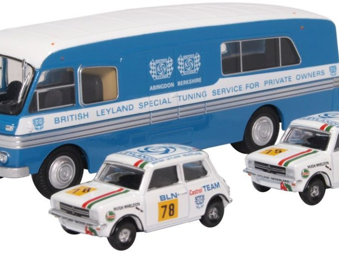 BMC CAR TRANSPORTER & 2 x MINI 1275GT BL Nederland 1/76 model OXFORD DIECAST