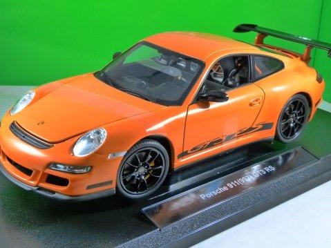 PORSCHE 911 (997) GT3 RS in Orange 1/18 scale model by WELLY