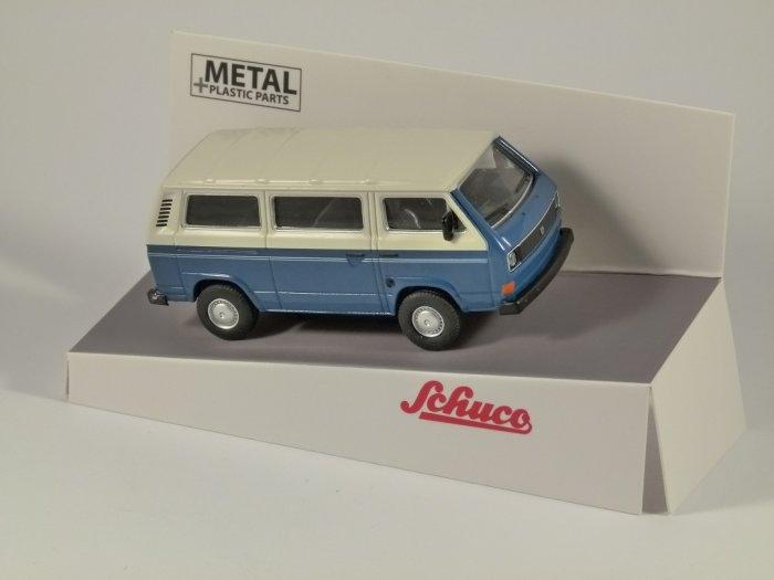 Schuco VOLKSWAGEN T3 Bus in Blue / White - 1/64 scale model