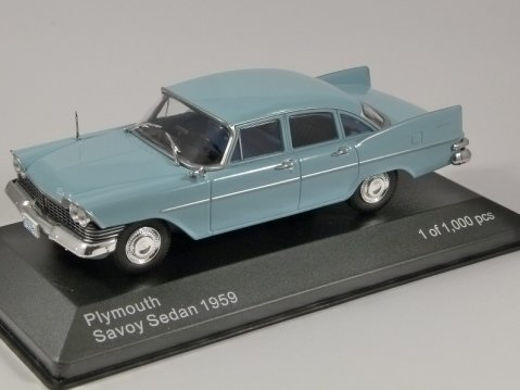 1959 PLYMOUTH SAVOY in Light Blue 1/43 scale model by Whitebox