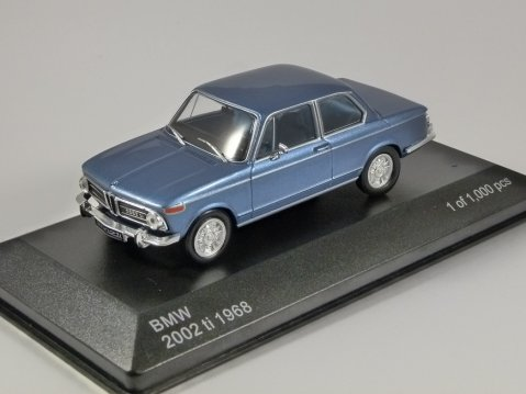 1968 BMW 2002 ti in Blue 1/43 scale model by Whitebox