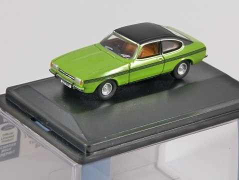 FORD CAPRI Mk2 in Lime Green - 1/76 scale model OXFORD DIECAST