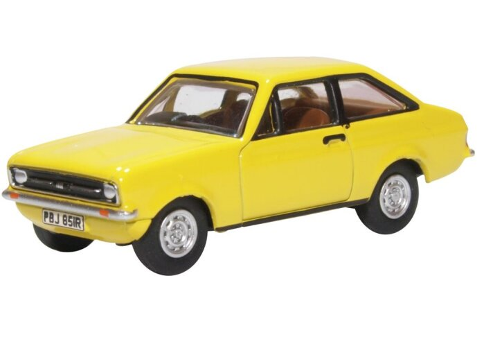 FORD ESCORT Mk2 in Signal Yellow - 1/76 scale model OXFORD DIECAST