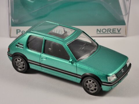 1992 PEUGEOT 205 GTi in Green 1/43 scale model by Norev