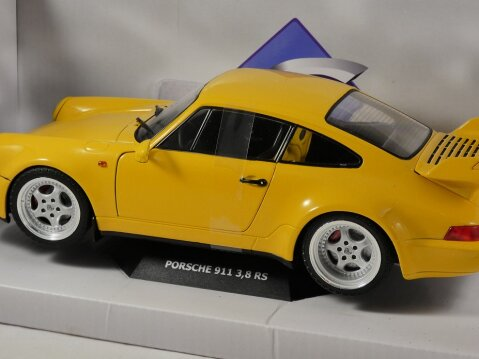 1990 PORSCHE 911 964 3.8 RS in Yellow 1/18 scale model by SOLIDO