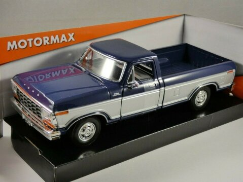 1979 FORD F-150 CUSTOM in Blue / Silver - 1/24 scale model by MotorMax