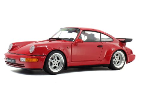 1990 PORSCHE 911 964 TURBO 3.6 in Red 1/18 scale model by SOLIDO