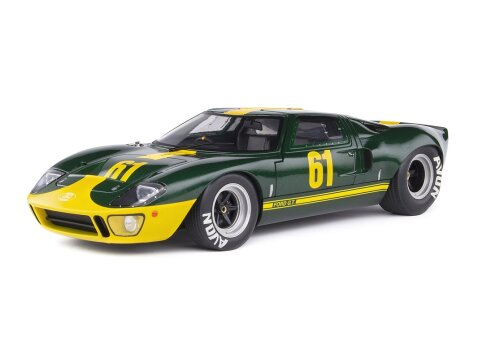 1968 FORD GT40 Mk1 RACING in Green / Yellow 1/18 scale model by SOLIDO