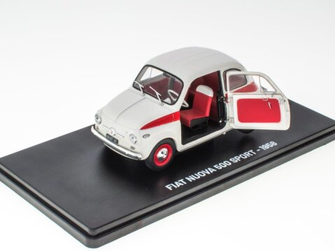 1958 FIAT NUOVA 500 SPORT in White / Red 1/24 scale partwork model