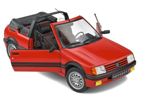 1989 PEUGEOT 205 CTi Mk1 Cabriolet in Red 1/18 scale model by Solido